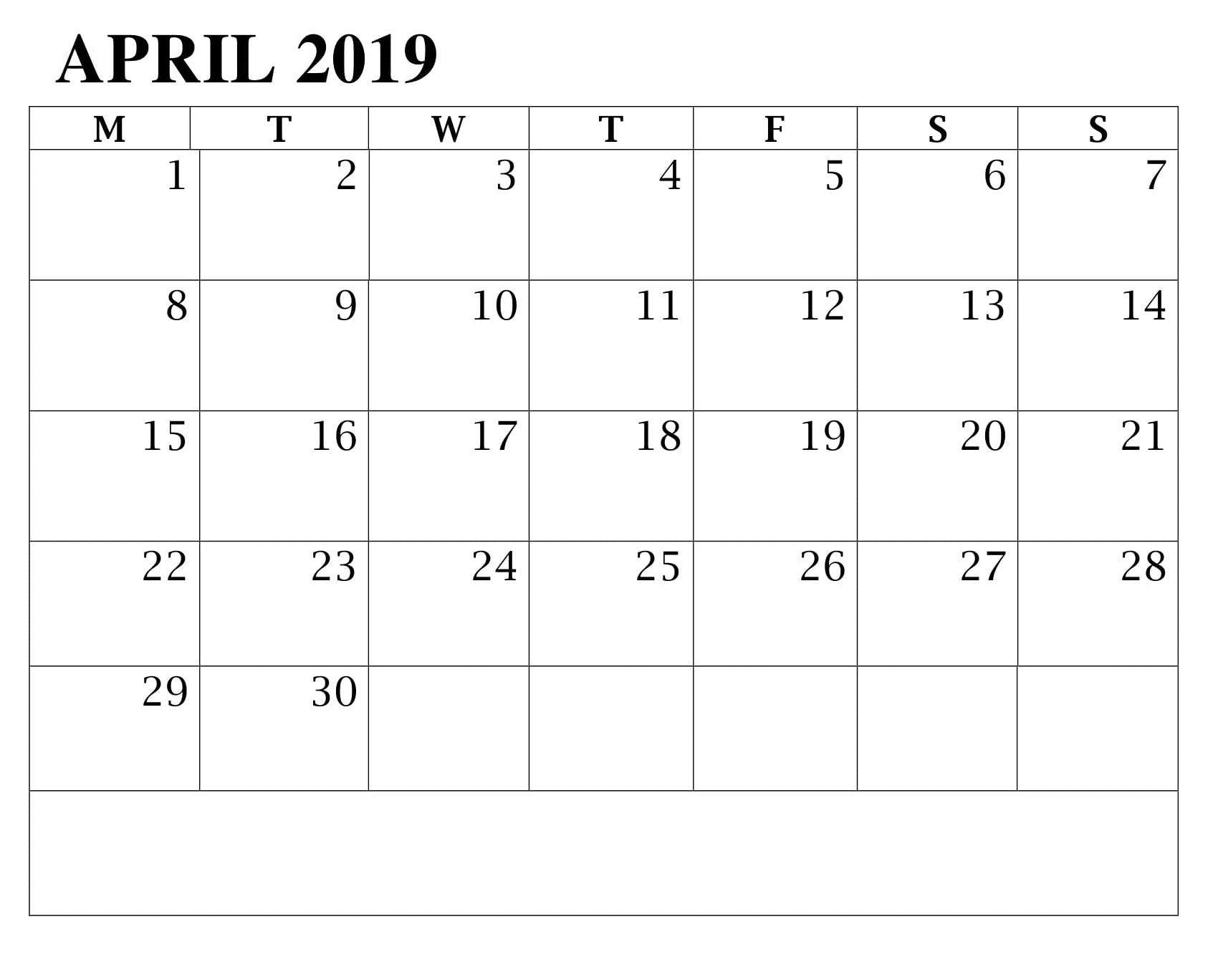 April 2019 Printable Calendar Excel Sheet Excel Calendar
