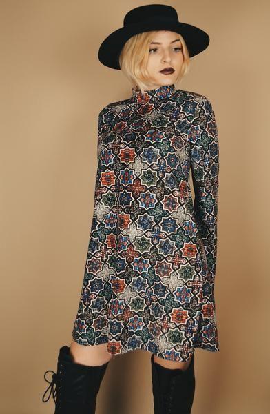 1c09c3ef531 Funky Print 60s Style Turtleneck Bell Sleeve Dress – Sofia Sells Stuff