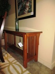 Price 349 99 Item 49178 Mission Style Sofa Table From Bett Furniture In A Medium Finish This Has Protective Gl Top And One Thin Shelf