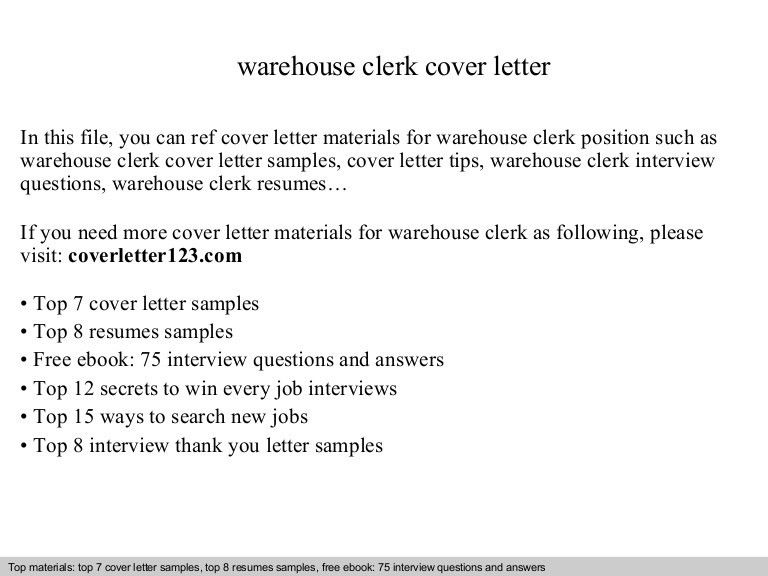 sample warehouse clerk resume Warehouse clerk cover letter #sampleResume #FreeResume