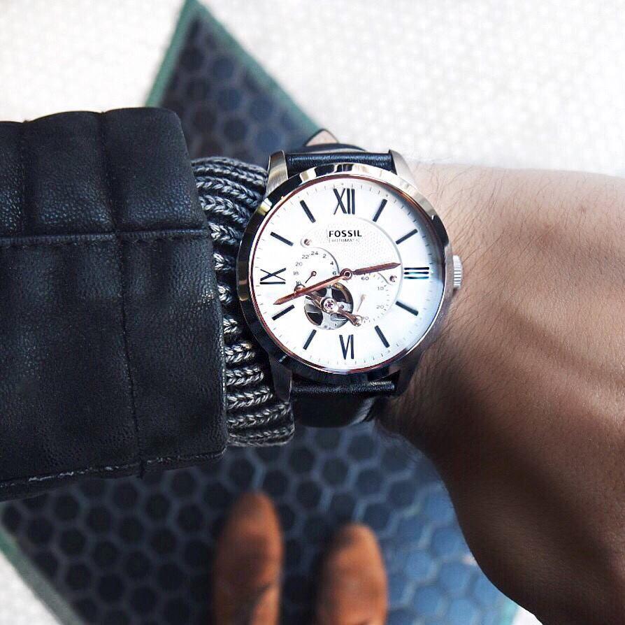 Townsman Automatic Black Leather - ME3104P - Fossil - Watch - Dialetu