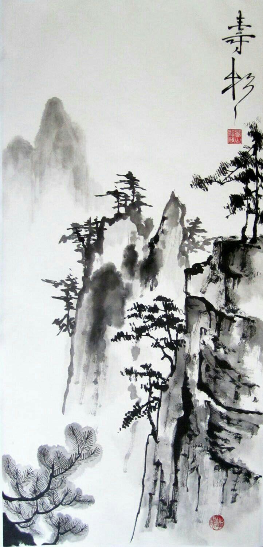 Idee Par Josiane Troillet Sur Dessins Paysage Chinois Paysage