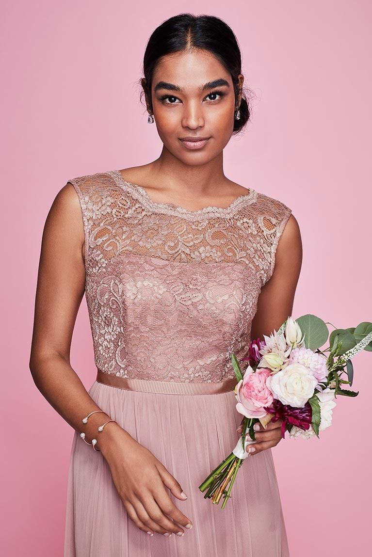 Metallic Pink Lace Bridesmaid Dresses from David\'s Bridal! Get insp ...
