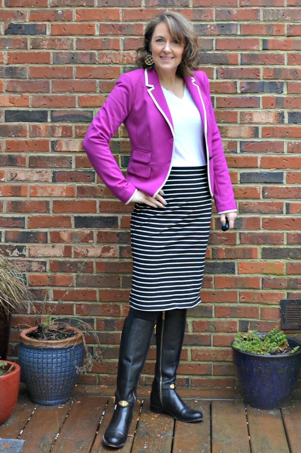blazer, stripes, riding boots, white t-shirt silvergirl | silvergirl