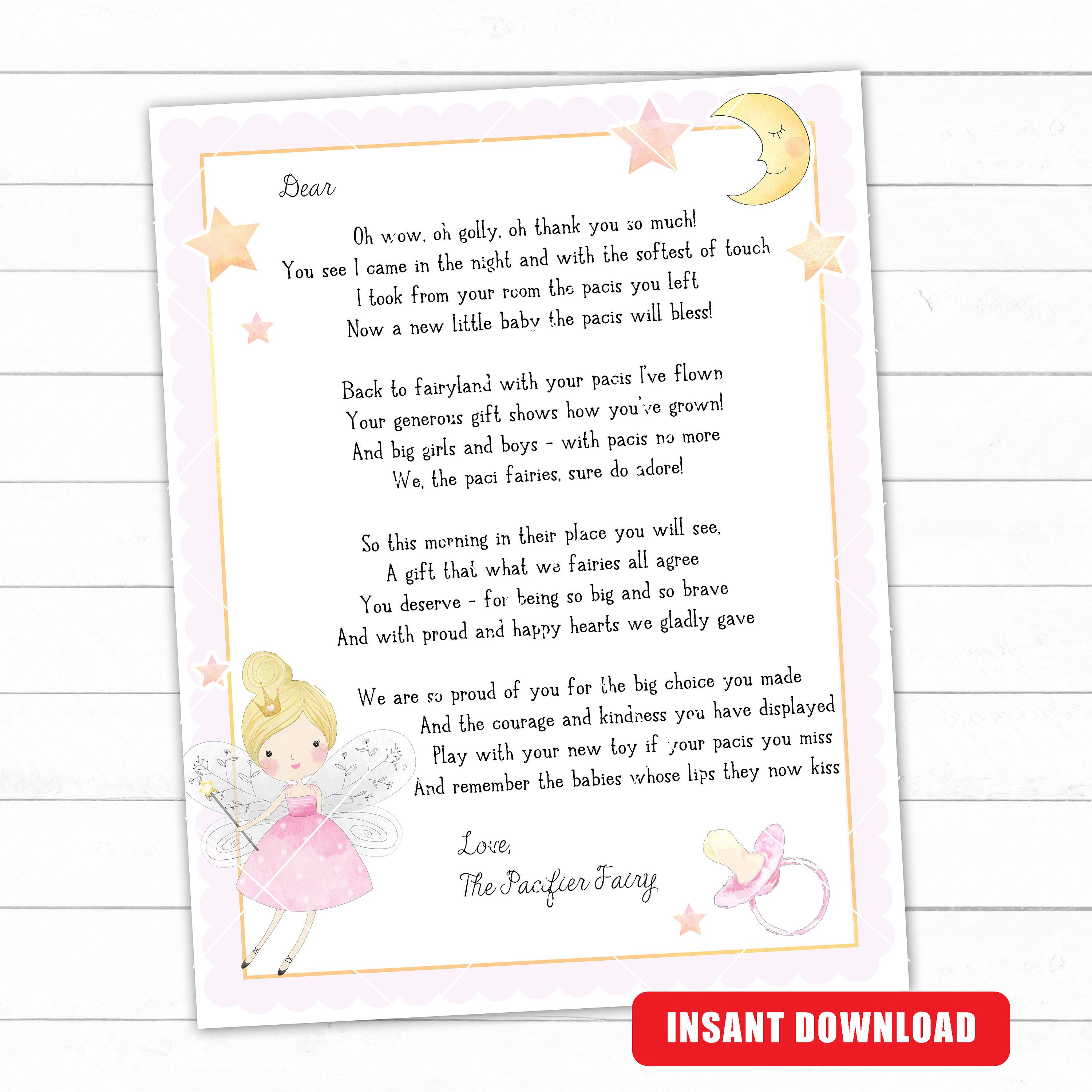 Paci Fairy Letter Binky Fairy Letter Dummy Fairy Letter Etsy Lettering Printable Designs Tooth Fairy
