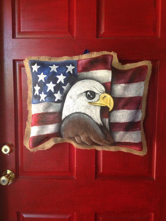 Patriotic American Flag Hand Painted Burlap by BHoweryCreations
