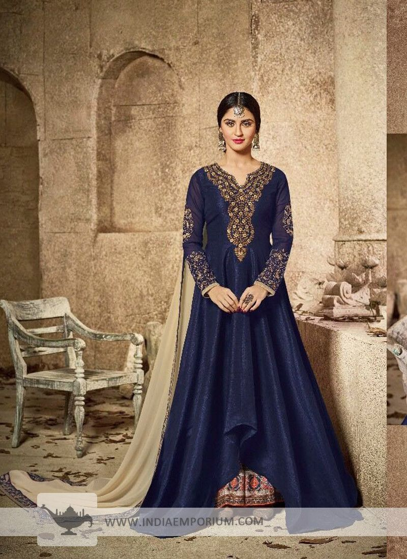 ff57e22094 Articulate Mulbery Silk Embroidered Navy Blue Asymmetrical Style Anarkali  Suit