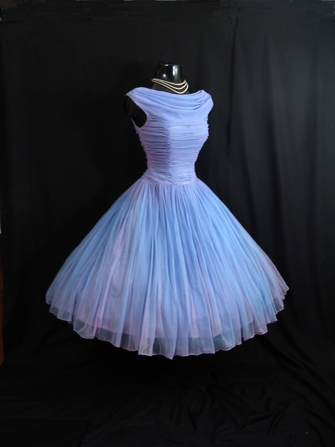 c91baaf9d007 Vintage 1950's 50s Periwinkle Blue Lilac Ruched Chiffon Party Prom Wedding Dress  Gown. $249.99, via Etsy.