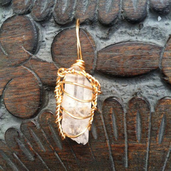 quartz wire wrapped necklace