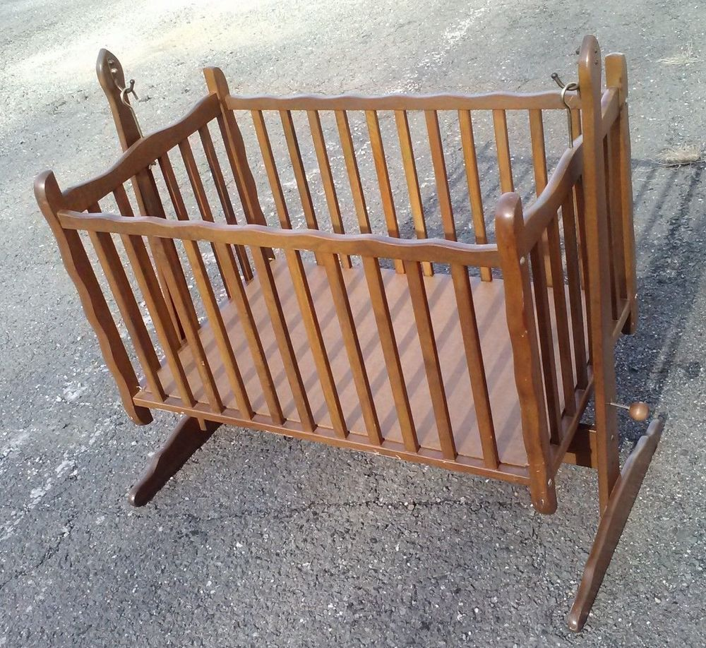 Antique Vintage Wood Baby Nursery Rocking Cradle Crib Bed Pick Up Only Nj In