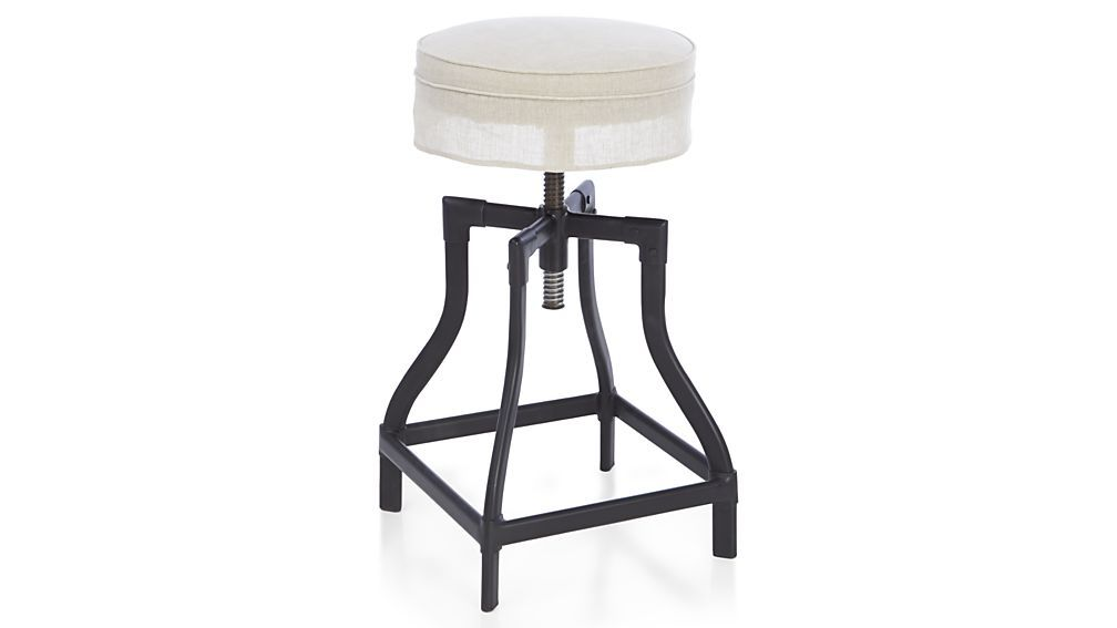 Amazing Turner Black Adjustable Backless Bar Stools And Linen Pabps2019 Chair Design Images Pabps2019Com