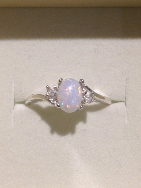 Photo of Australian Opal Ring – Genuine Orange and Blue Multicolor Opal Ring with Genuine White Zircons – 14K Optional – CUSTOM