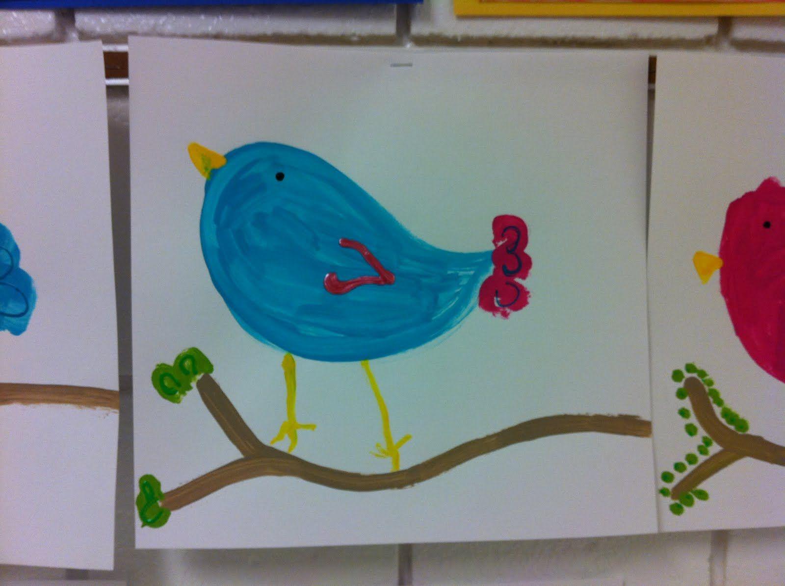 Spring Bird Art Kindergarten Cupcake Crumbs