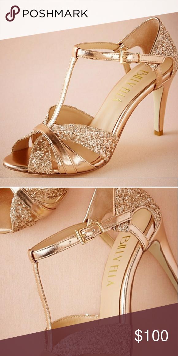 0e47f42550f328 Billy Ella rose gold heels Billy Ella rose gold glitter t-strap heels size  10