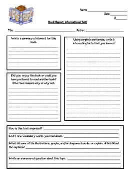 Non Fiction And Fiction Book Report Book Report Template Middle