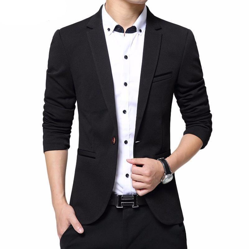 Blazer Homme Noir Velours Veste de Costume Slim Fit