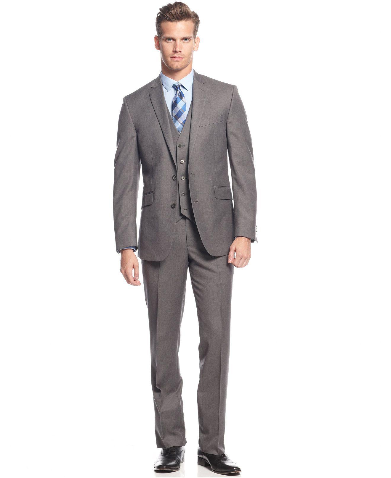 Kenneth Cole Reaction Light Grey Solid Vested Slim-Fit Suit - Shop ...
