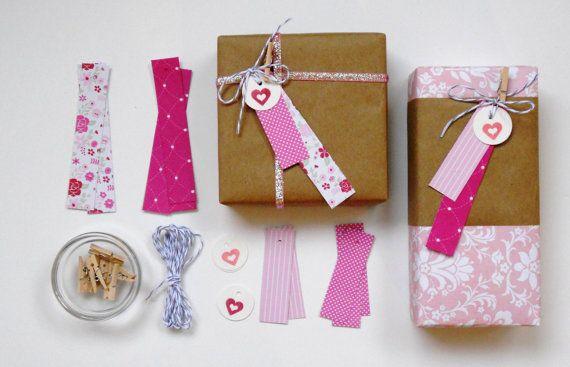 gift tag kit. pink hearts - wedding favor - valentines - bridal shower