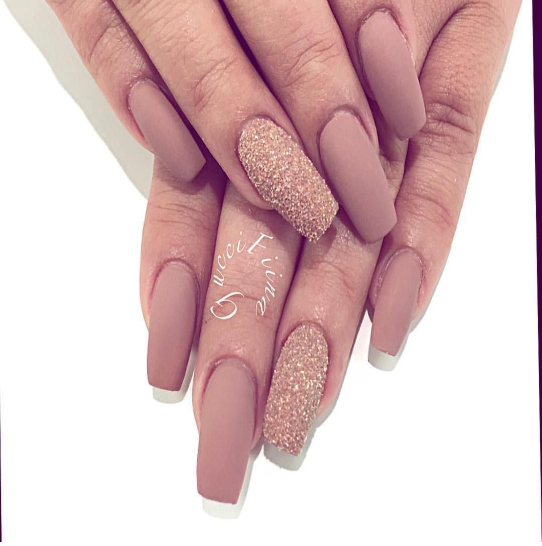 Nude + Gold Glitter Tapered Square Tip Long Nails. Classy & Elegant ...