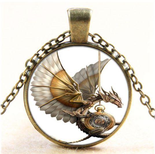 Vintage Steampunk Dragon Photo Cabochon Glass Bronze Pendant  Necklace #Handmade #Pendant