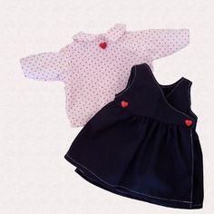 efcbb52ad3c4f Vêtements pour poupées et poupons de 36 à 42 cm   ensemble robe cache cœur  et chemisier