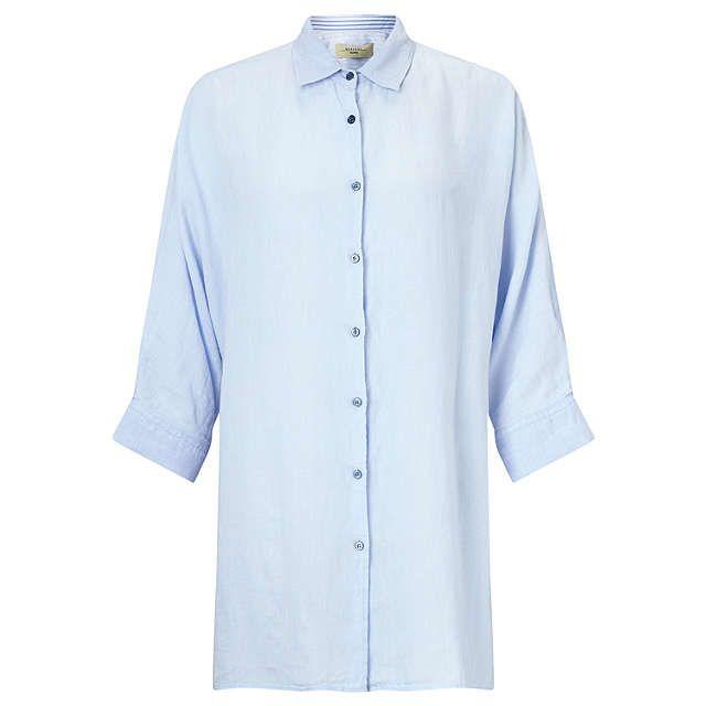 BuyWeekend MaxMara Fiero Relaxed Linen Shirt, Light Blue, 8 Online at johnlewis.com