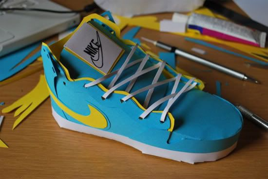 David Brownings – Paper Shoes - Awesome Nike paper shoes by UK based artist  David Brownings.