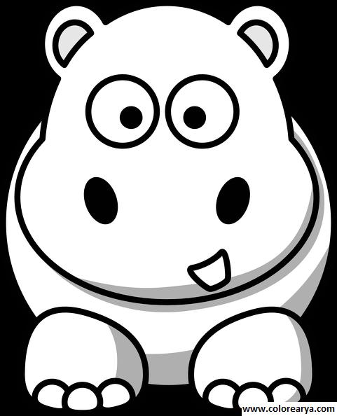 hipopotamo animado bebe para colorear muy muy tierno y hermoso y