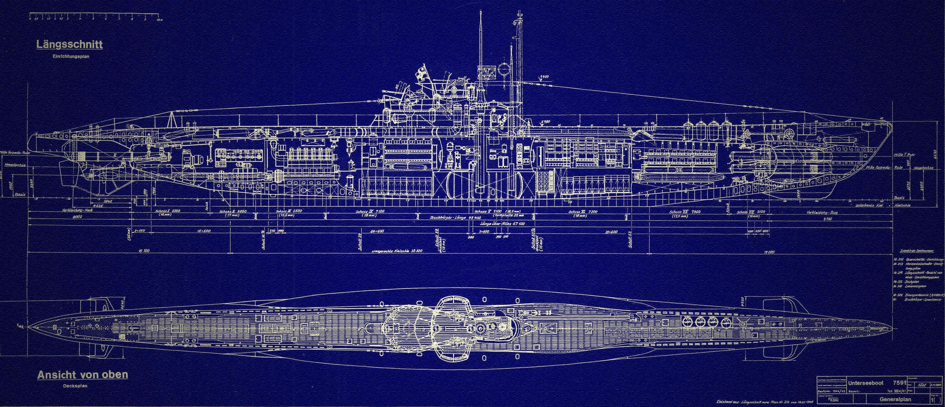 u boat blueprint   silent running   boat, navy wallpaper