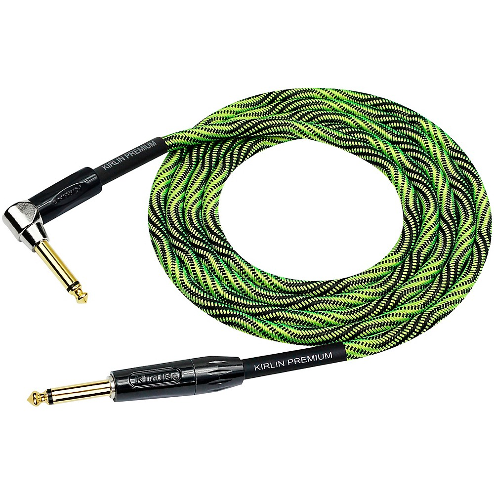 Kirlin Iwb Black Green Woven Instrument Cable 1 4 Straight To Right Angle 20 Ft Iwb Woven Straight