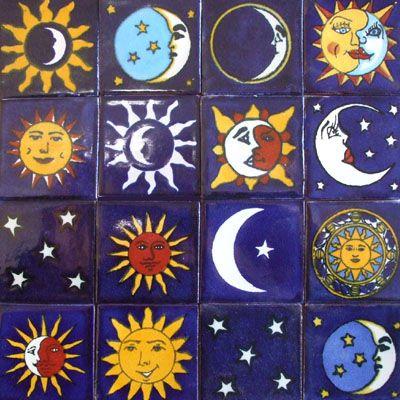 """100 Mexican Talavera Céramique 4/"""" Moon SUN STAR Designs"""