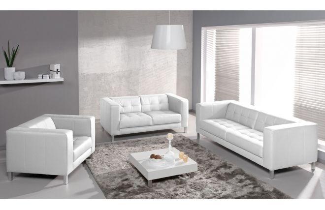 Canape Design 2 3 Places Blanc Lincoln Canape Blanc Cuir Canape Design Et Canape Droit