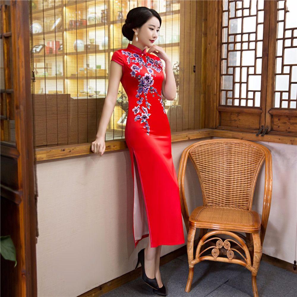 Shanghai Story Faux Silk Cheongsams Long Qipao Short Sleeve Chinese Traditional Dresses Oriental Style Dresses 2017 In Dresses China Dress Traditional Dresses [ 1000 x 1000 Pixel ]