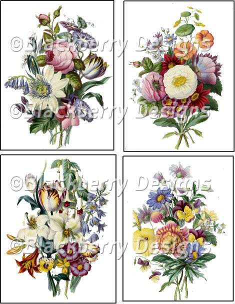 decoupage paper, collage sheet,vintage flower,vintage colorful mixed flowers