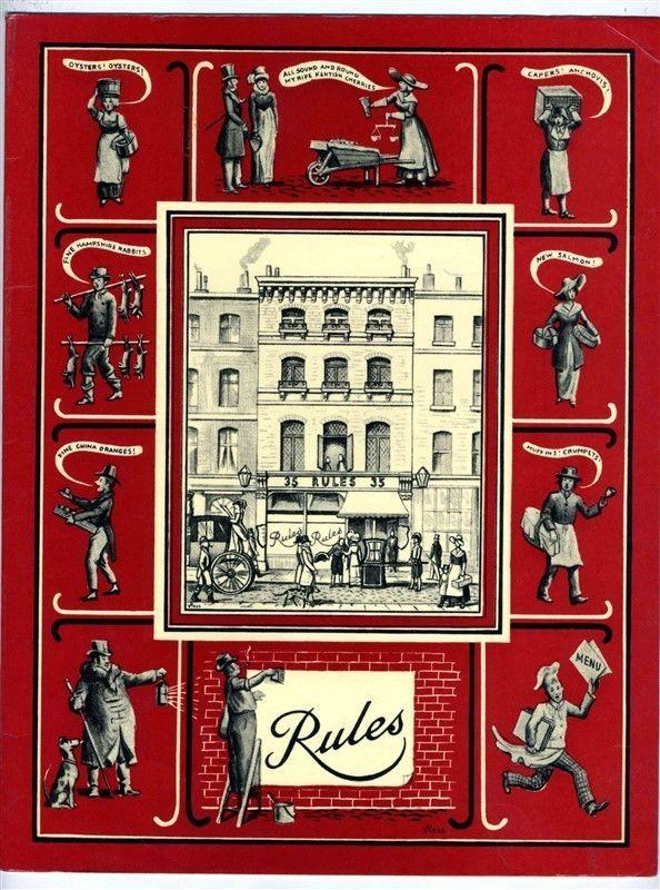 Rules Menu Covent Garden Oldest Restaurant in London