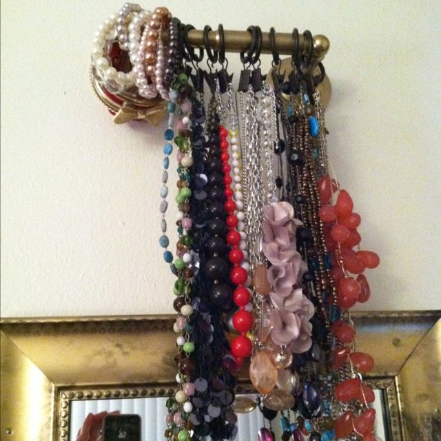 Fancy Toilet Paper Holder Used To Hang Jewelry With Shower Curtain Ring  Clips. Toilet Paper