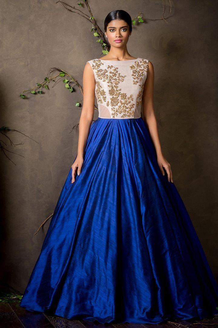 a407f25ce4 Banarasi+Silk+Machine+Work+Blue+Semi+Stitched+Long+Anarkali+Suit+-+BRI at  Rs 1299