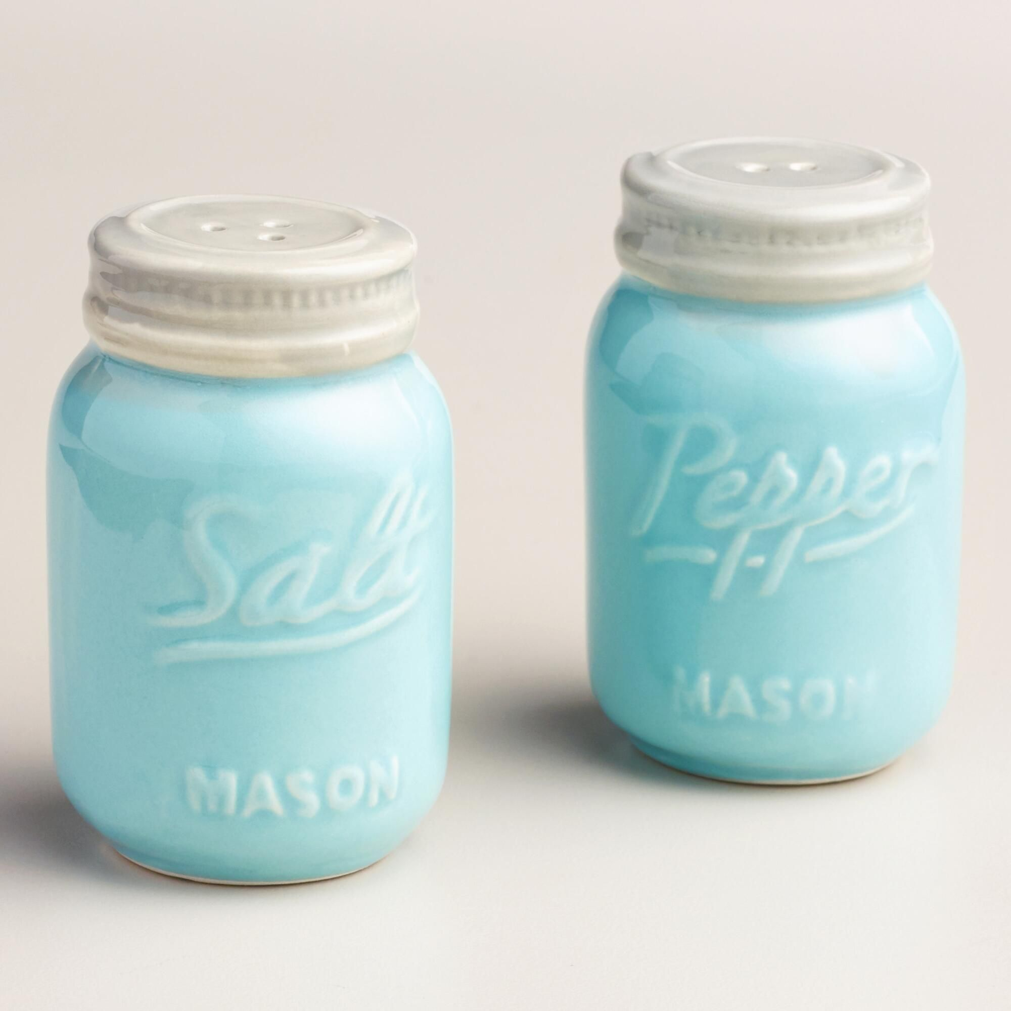A great gift for collectors, our blue mason jar salt and pepper ...