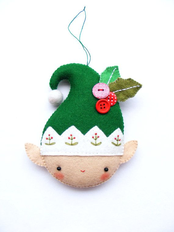 PDF pattern - Christmas elf - Felt Christmas ornament, hand sewing DIY  project, embroidered festive decoration - PDF Pattern - Christmas Elf - Felt Christmas Ornament, Hand Sewing