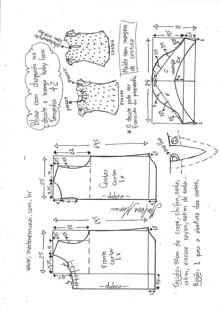 Patrón simple de blusas para todos los días (costura y corte ...