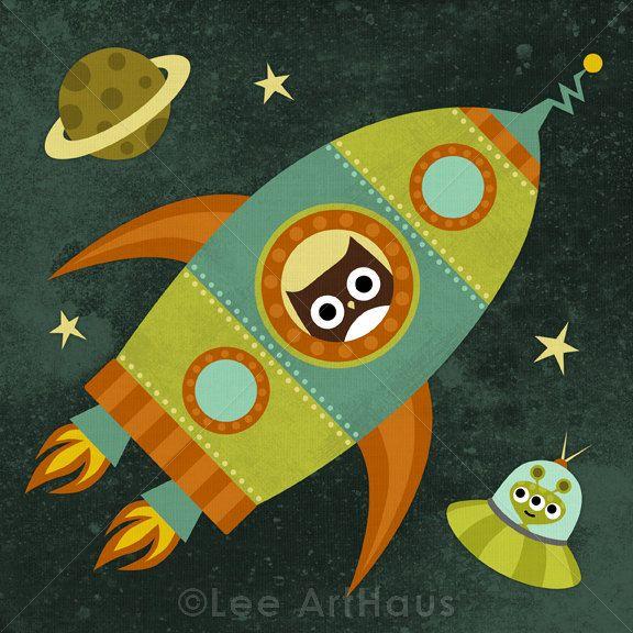 223R Retro Owl Flying in Rocketship in Space 6x6 Print. $15.00, via Etsy.