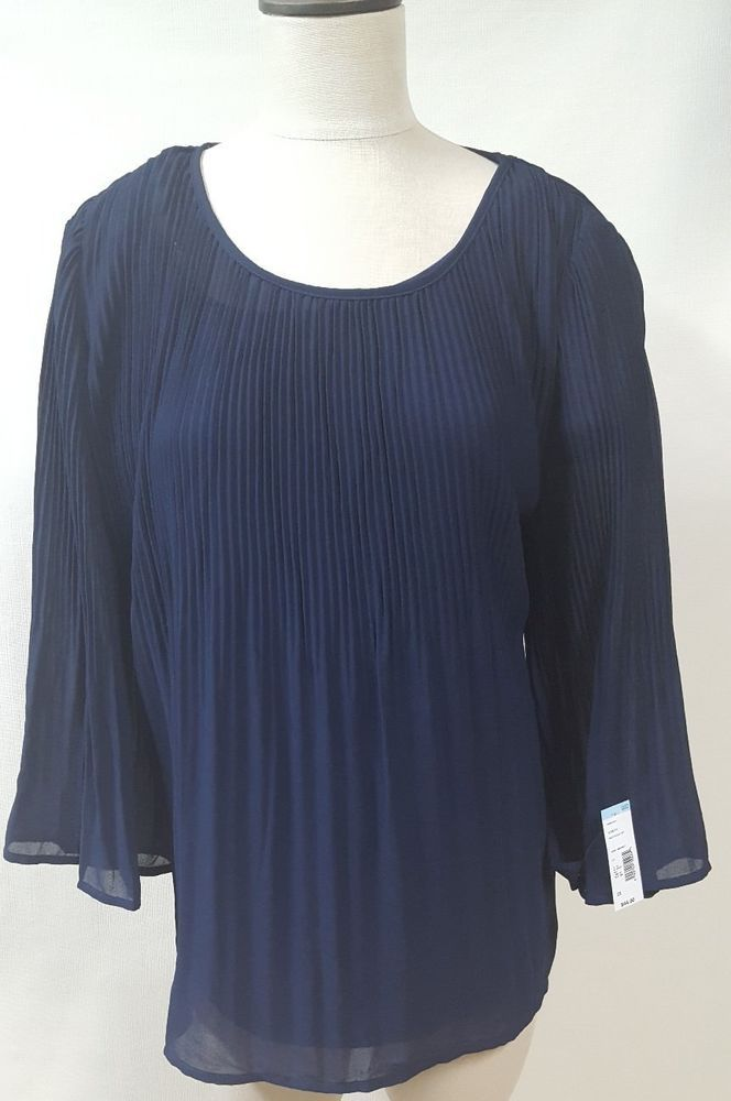 5f6fdf91104 Simply Emma Blue Pleated Chiffon Shirt Size 2X Bell Sleeve Sheer Tank  Emma   Blouse  EveningOccasion