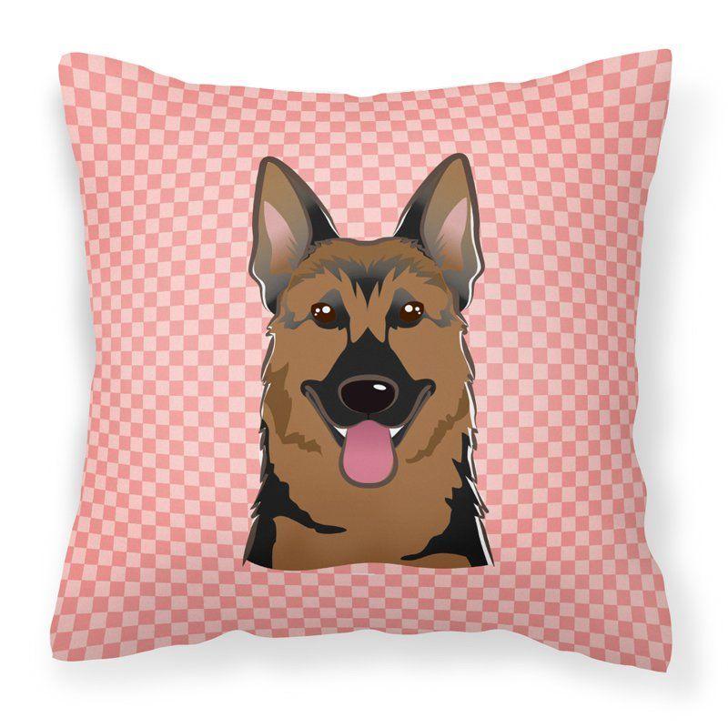 Carolines Treasures Checkerboard Pink German Shepherd Square Decorative Outdoor Pillow - BB1211PW1414