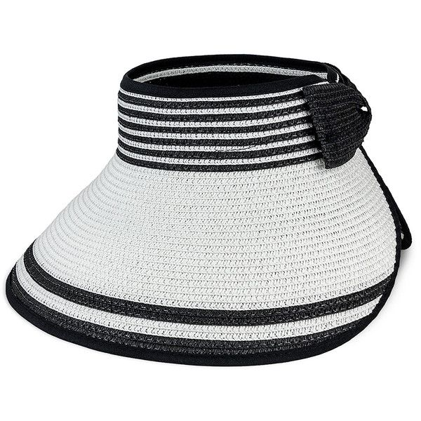 Magid White Stripe Straw Visor (49 RON) ❤ liked on Polyvore featuring  accessories 53831dfc88d