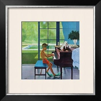 """""""Poolside Piano Practice,"""" June 11, 1960 Giclee Print by George Hughes at Art.com"""