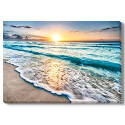'Sunrise Over Beach in Cancun' by Mike Liu Photographic Print on Wrapped Canvas
