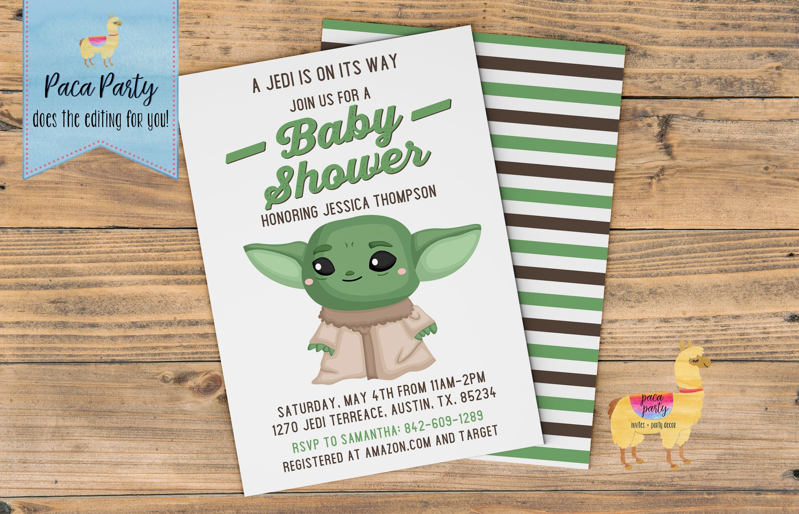 Baby Yoda Mando Baby Shower Invitation Space Wars Mando Shower Invitation Baby Yoda Baby Shower I Star Wars Baby Shower Baby Shower Invitations Baby Shower