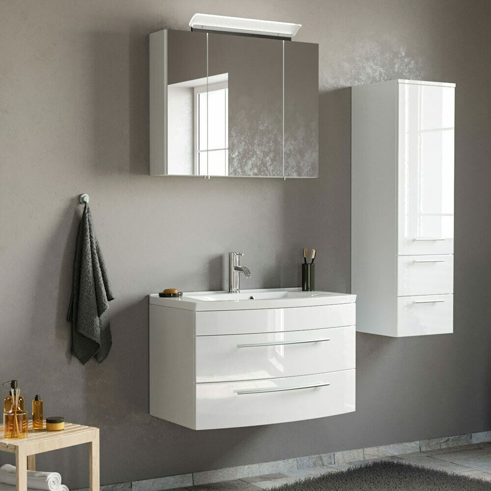 Badezimmermobel Set Hochglanz Weiss 80cm Waschtisch Spiegelschrank Hochschrank Badezimmermobel Ideen Von Badezimmerm In 2020 Vanity Bathroom Vanity Double Vanity