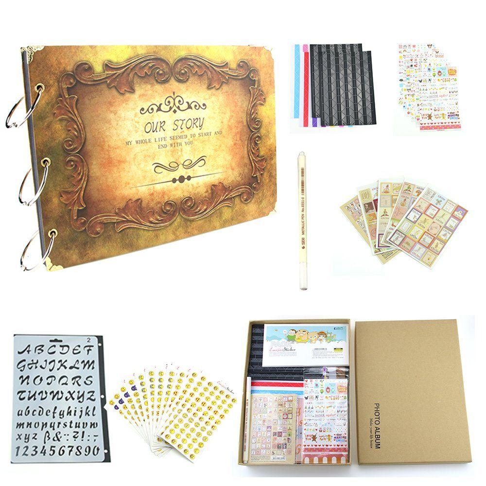 Scrapbook Kit Our Story Vintage Photo Album Black Pages Memory