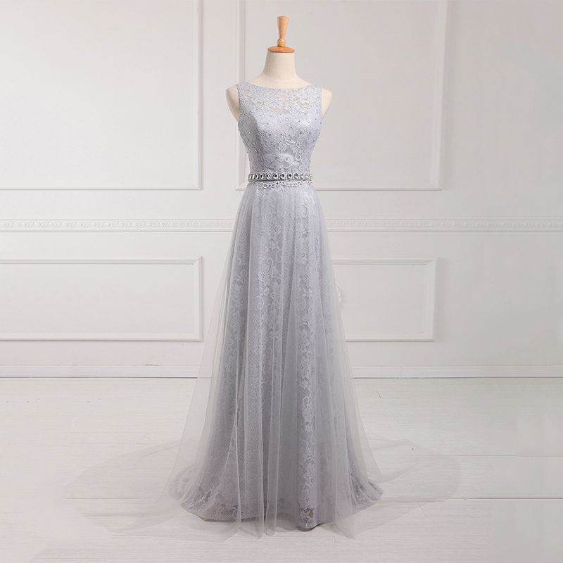 Attractive Bateau Neck A-line Long Tulle Prom Dress, Light ...